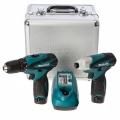 Set de atornilladores  DF330D + TD090D + Bat. BL1014 (1,3Ah) x 2un + Cargado c/ caja aluminio